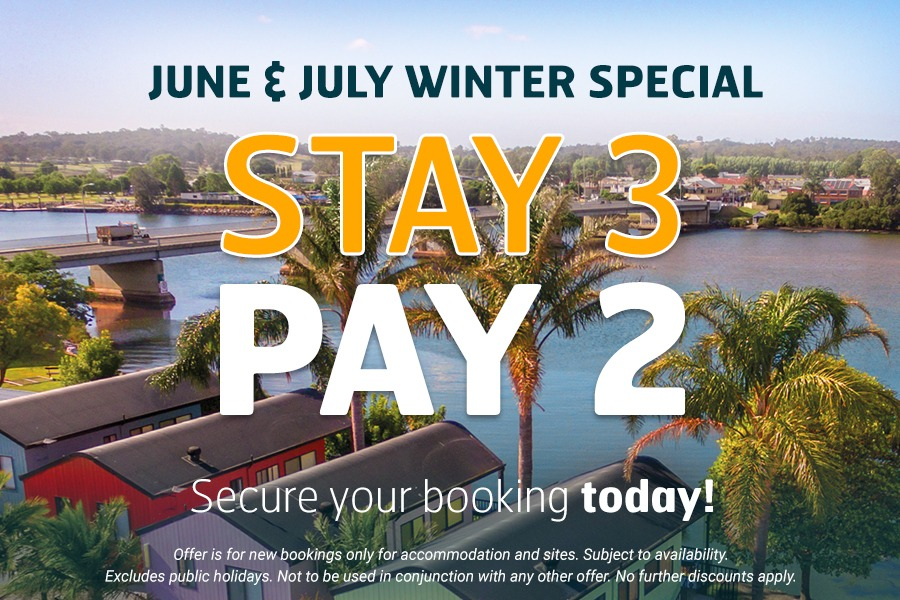 Stay 3 Pay 2 at Riverbreeze Holiday Park