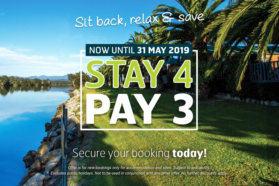 Stay 4 Pay 3 at Riverbreeze Holiday Park