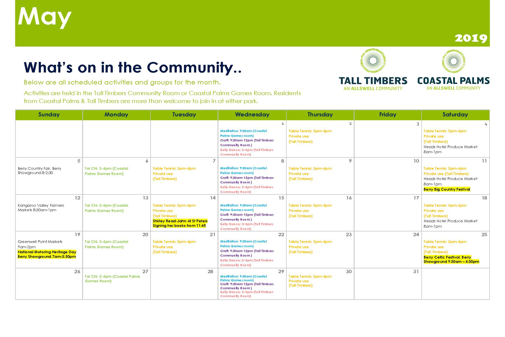 What's On at Tall Timbers and Coastal Palms - May